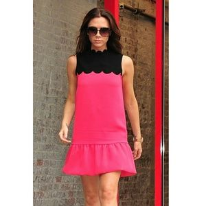 Victoria Beckham Scalloped Peplum Dress in Blush